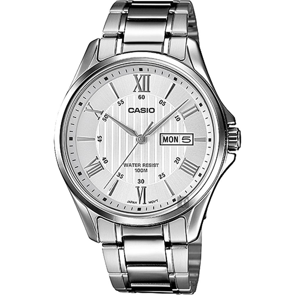 CASIO 卡西欧 罗马指针手表-银 MTP-1384D-7AVDF