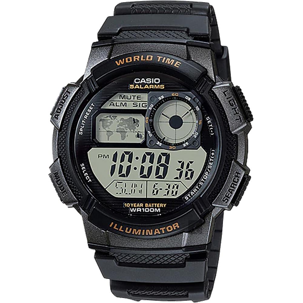 CASIO 卡西欧 10年电力世界时间手表-黑 AE-1000W-1AVSDF