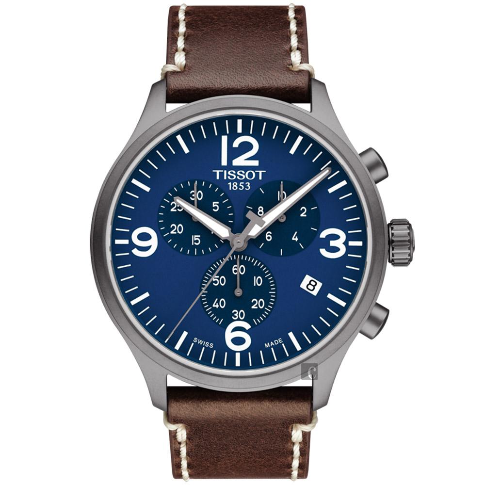 TISSOT 天梭 韵驰系列 Chrono XL计时手表-蓝x咖啡/45mm T1166173604700