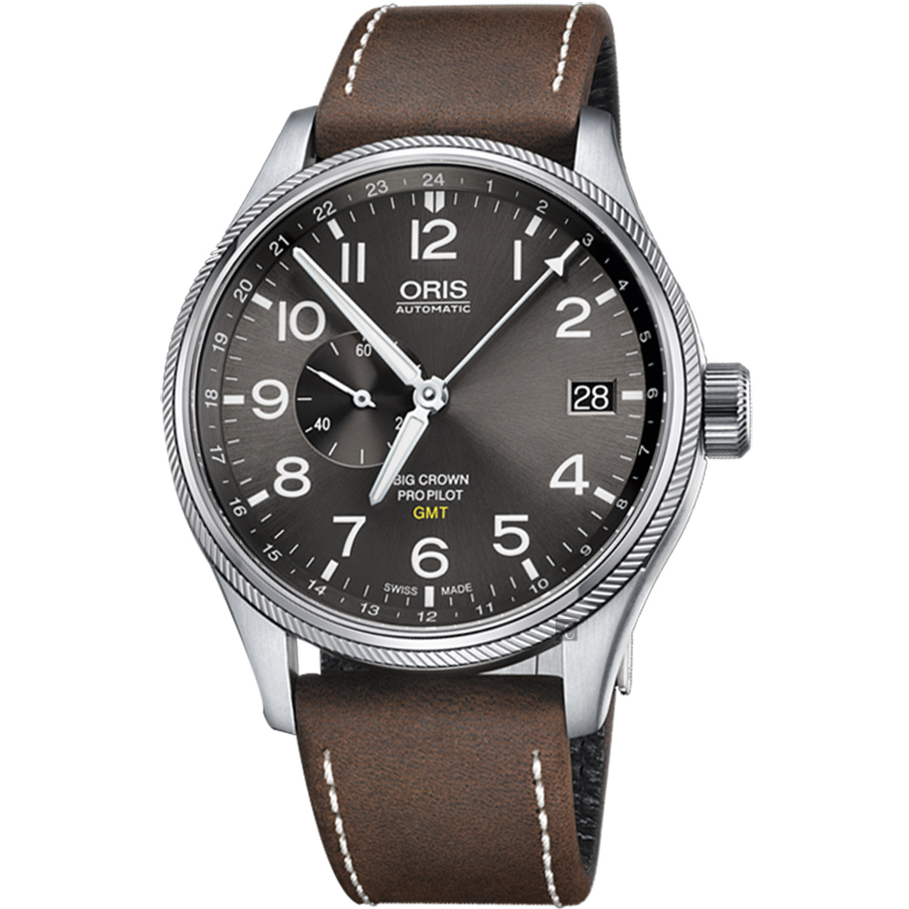 ORIS 豪利時 Big Crown ProPilot GMT小秒針飛行錶~灰 45mm 0174877104063~0752205FC