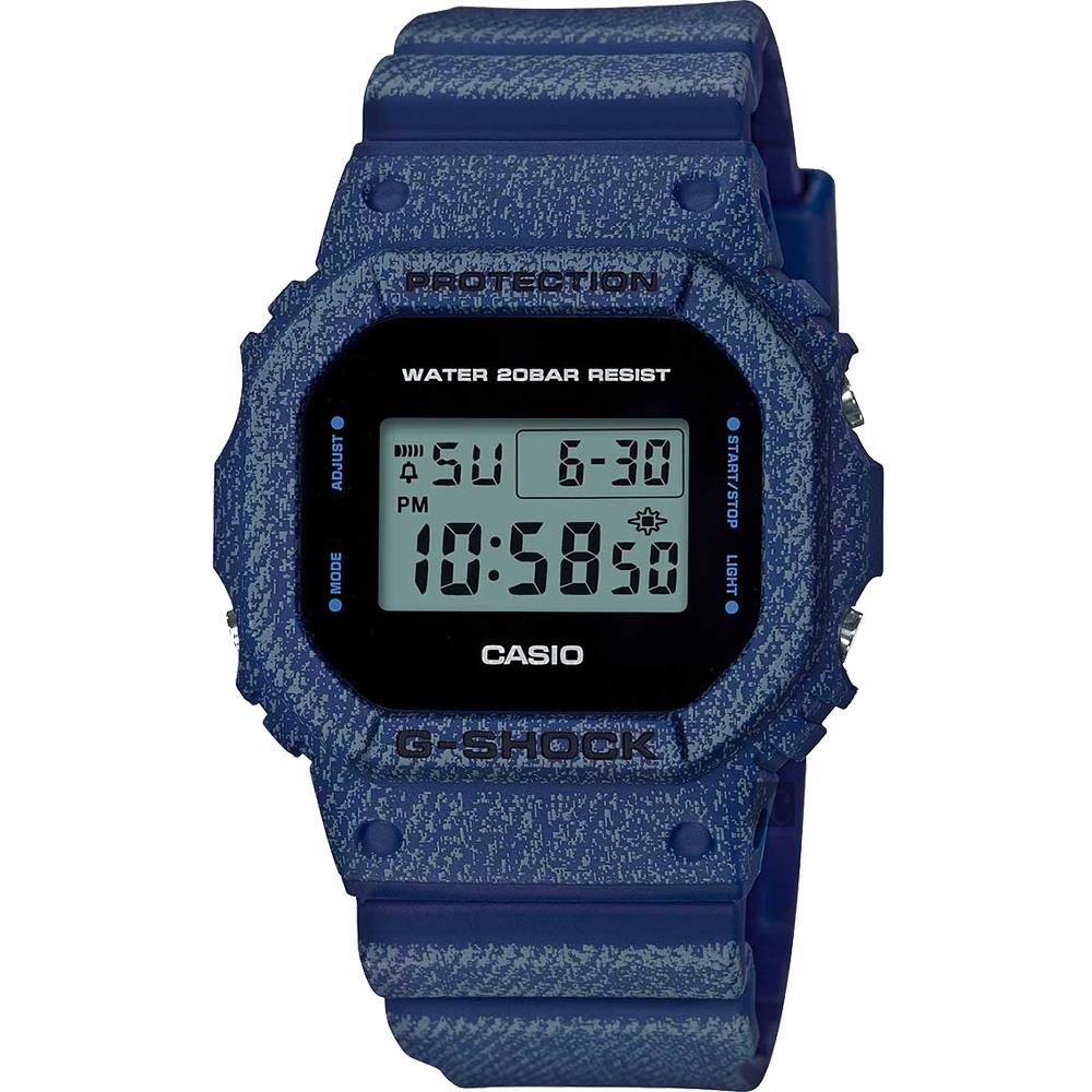 CASIO 卡西欧 G-SHOCK 丹宁电子表-深蓝 DW-5600DE-2ADR