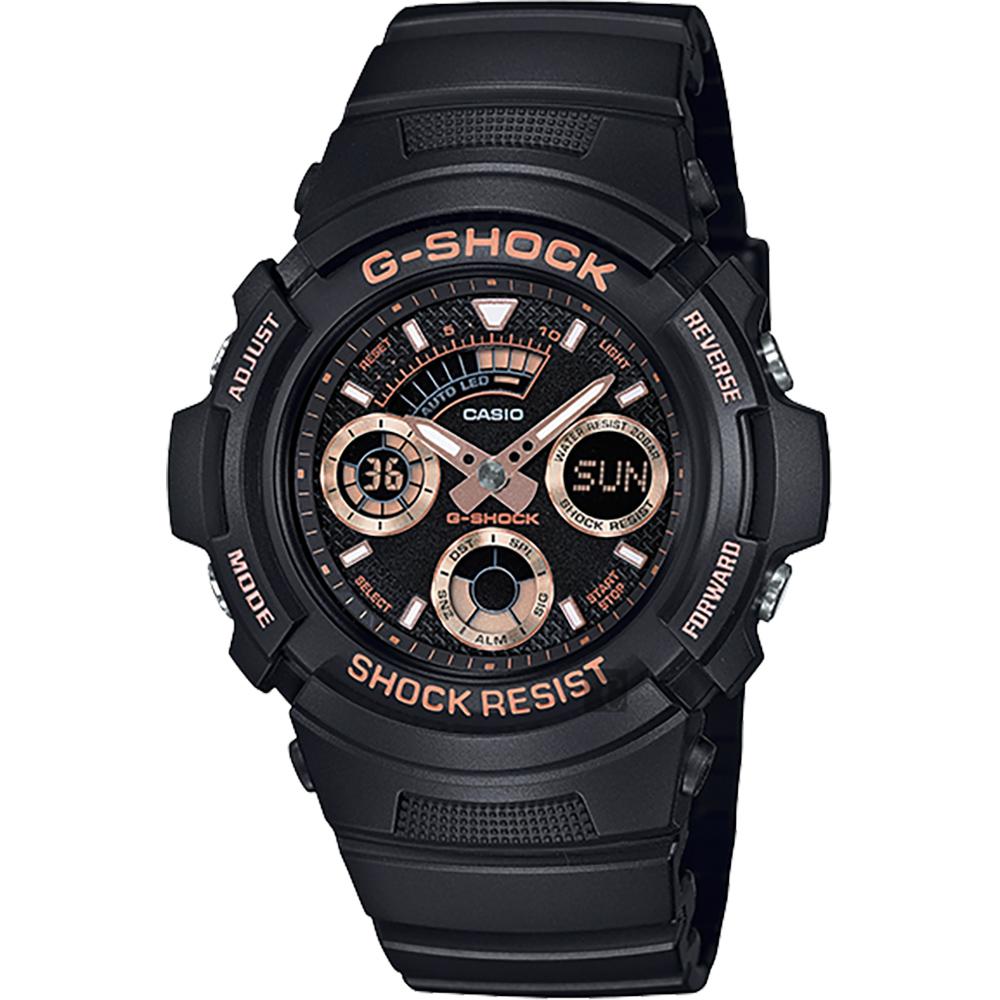 CASIO 卡西欧 G-SHOCK 赛车运动手表-玫瑰金x黑 AW-591GBX-1A4DR