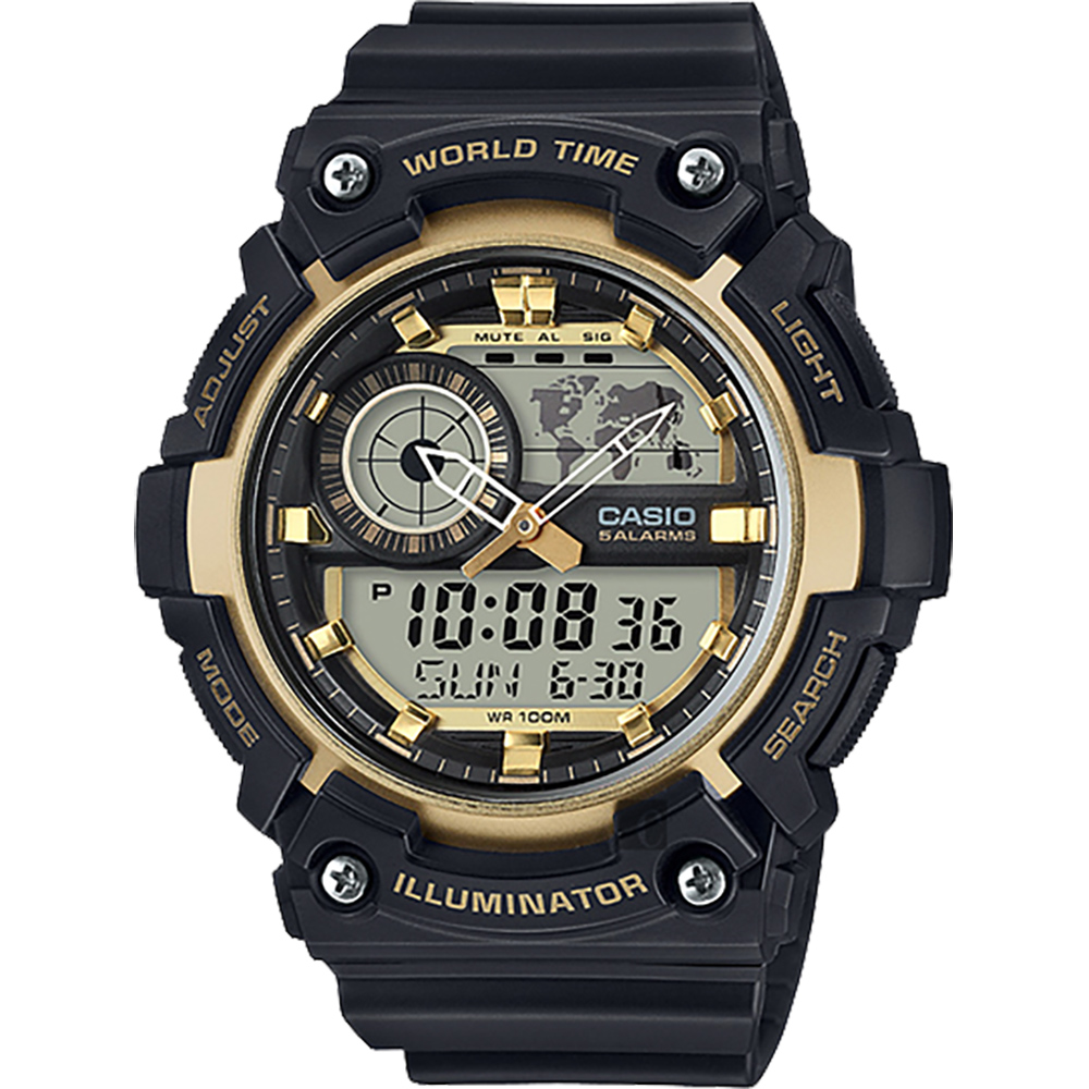 CASIO 卡西欧 世界时间地图手表-黑金 AEQ-200W-9AVDF