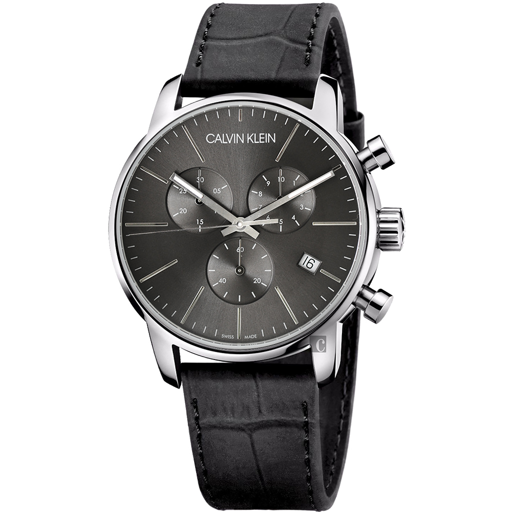 Calvin Klein CK City 都会绅士计时手表-黑/43mm K2G271C3
