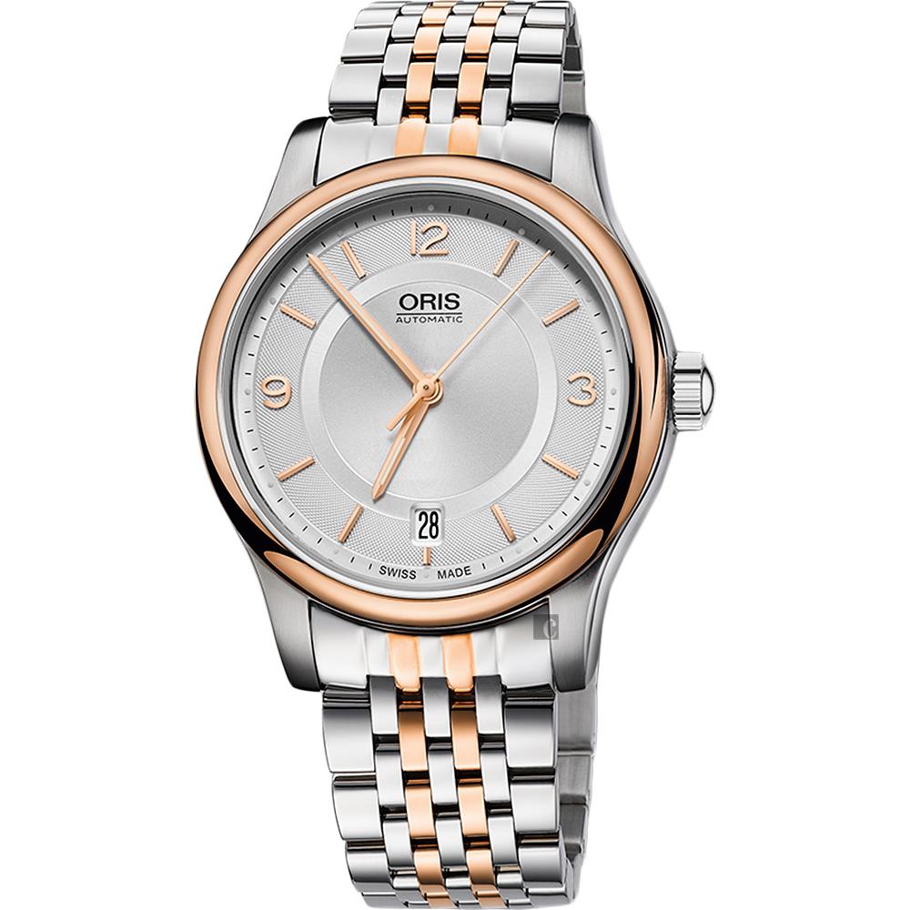 ORIS 豪利時 Classic Date 都會 機械錶~銀x玫瑰金框 37mm 0173375784331~0781863