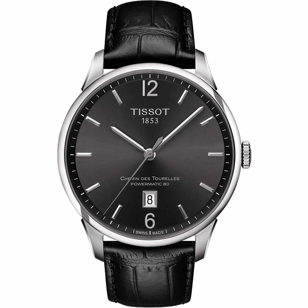 TISSOT 天梭 杜鲁尔系列机械动力80腕表-枪灰x黑/42mm T0994071644700