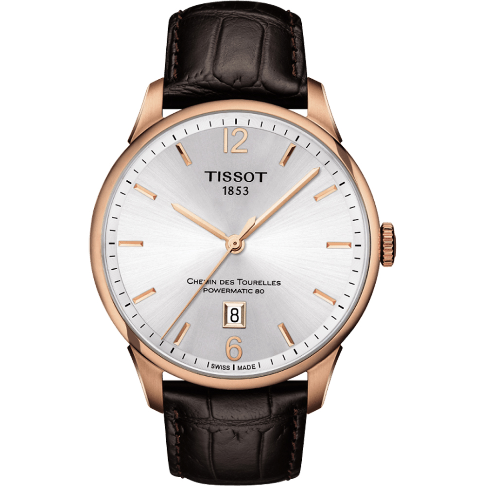 TISSOT 天梭 杜鲁尔系列机械动力80腕表-银x玫瑰金框/42mm T0994073603700