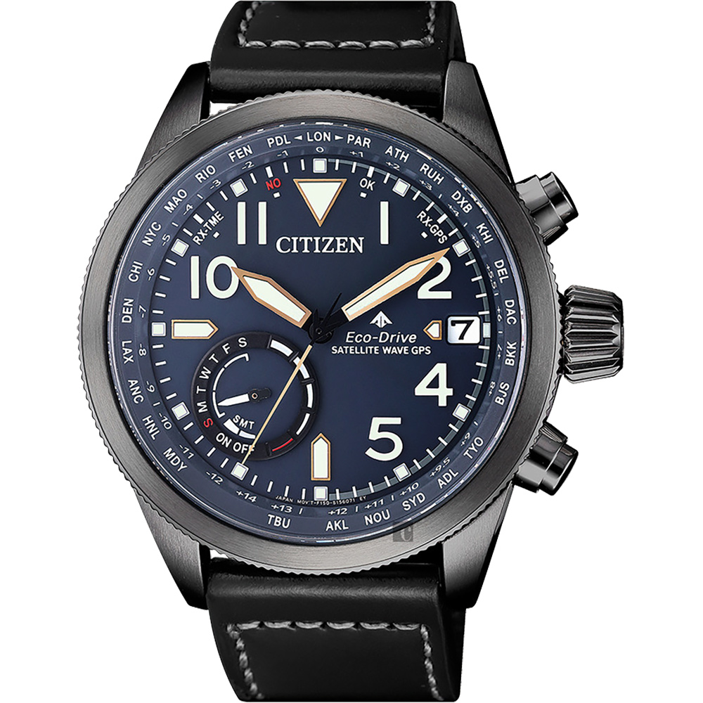 CITIZEN 星辰 限量GPS卫星对时光动能手表-蓝x黑/44mm CC3067-11L