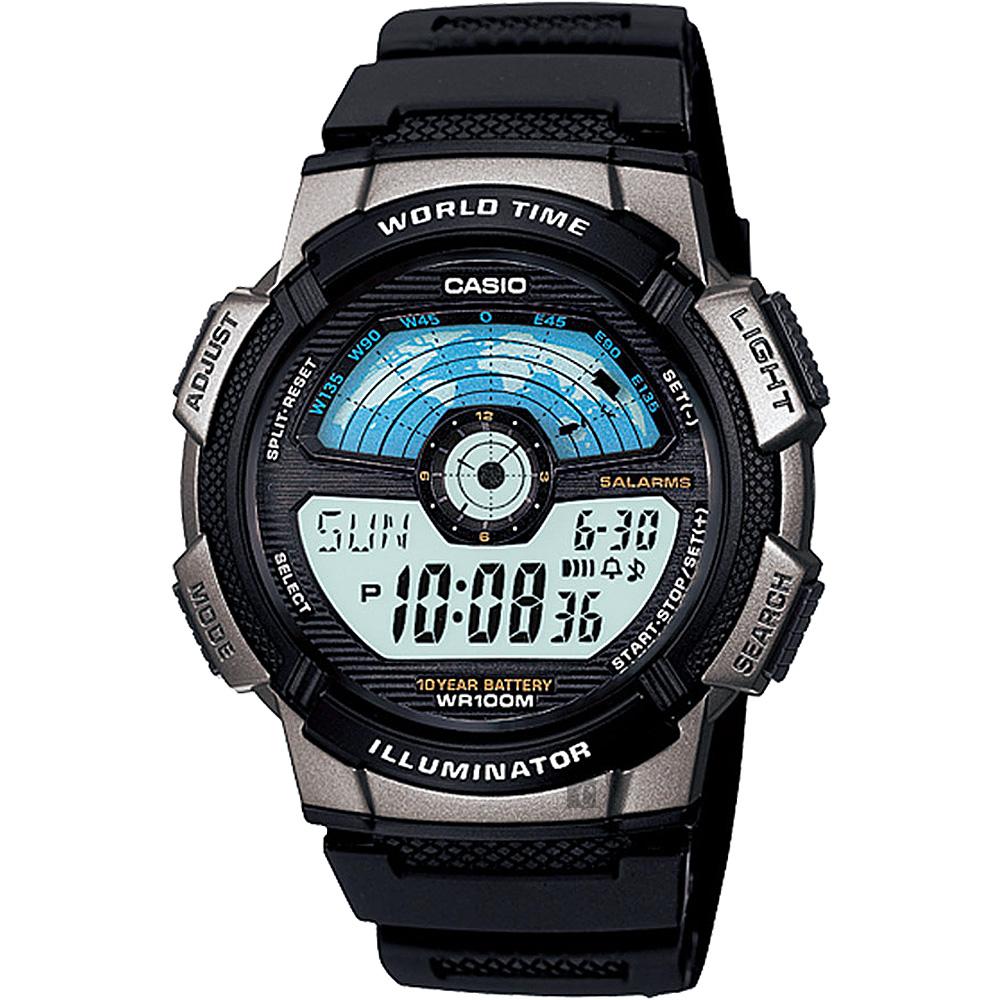 CASIO 卡西歐 10年電力 雷達式世界地圖手錶~金屬灰 AE~1100W~1AVDF