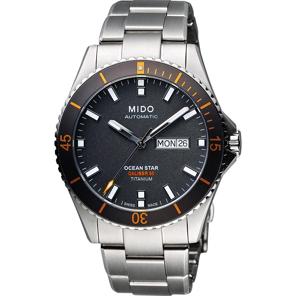 MIDO 美度 Ocean Star Caliber 80 200m 钛金属潜水机械腕表 M0264304406100