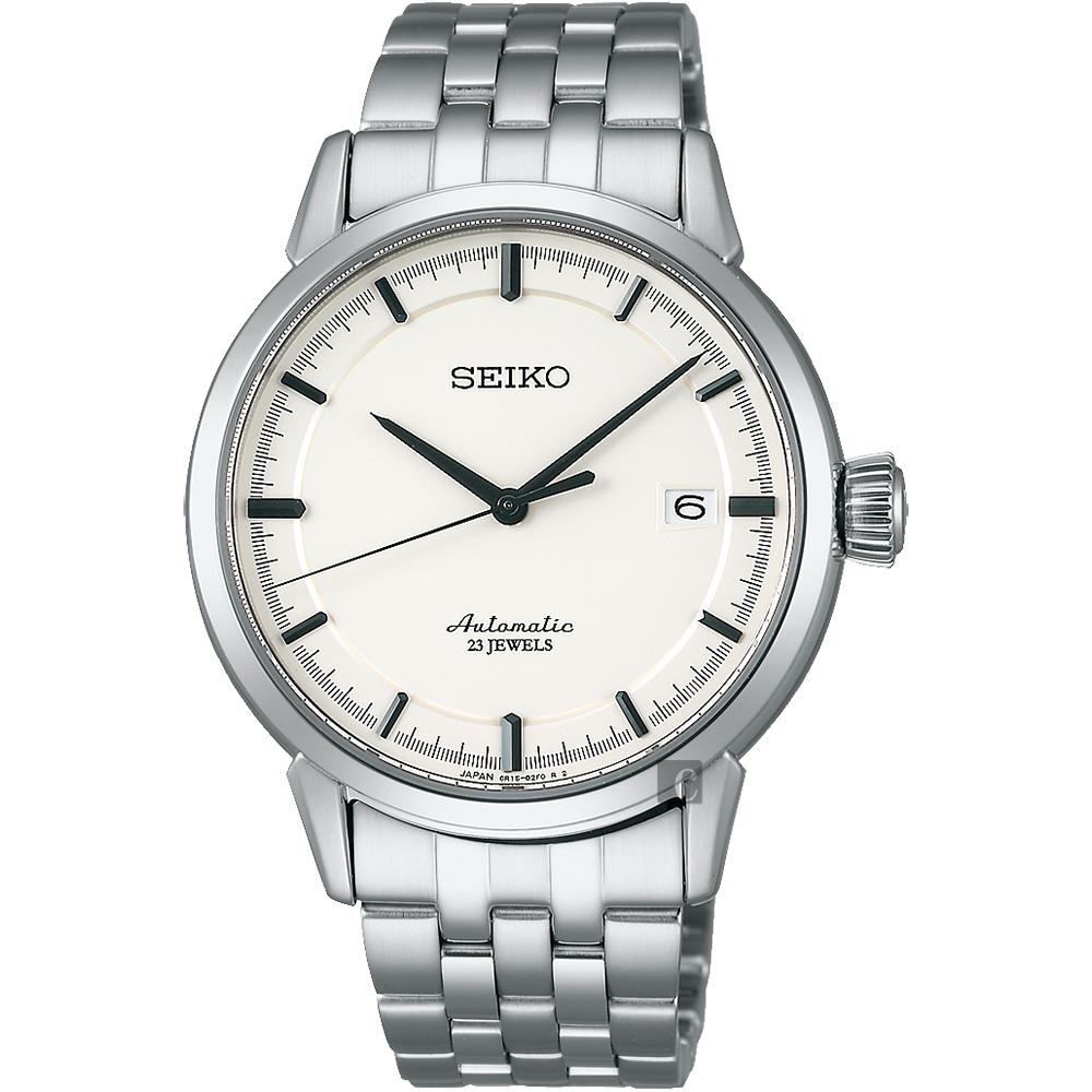 SEIKO 精工 Presage 时尚极简机械手表-银/39mm 6R15-02Y0S(SARX021J)