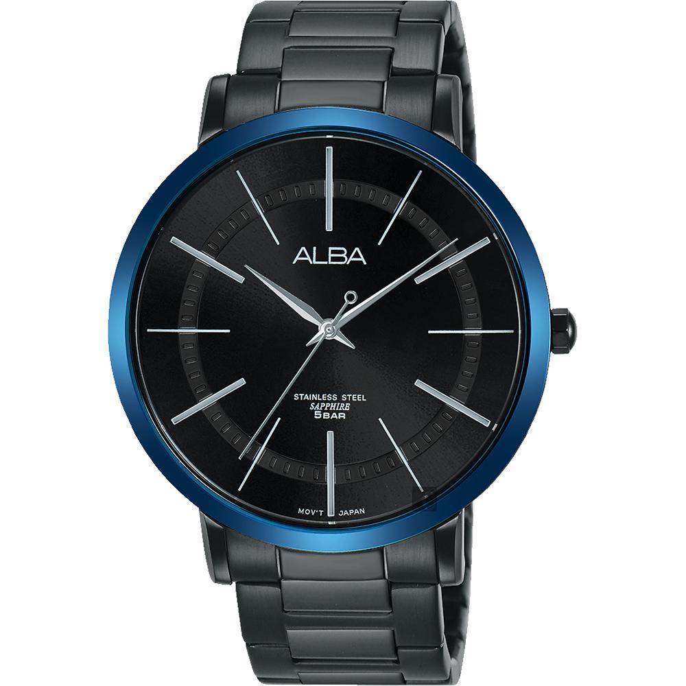 ALBA 雅柏 东京情人时尚手表-镀黑x蓝框/44mm VJ21-X118B(AH8483X1)