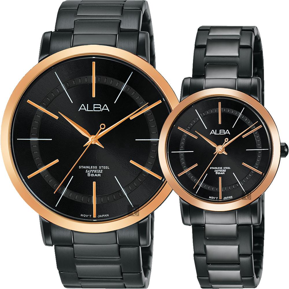 ALBA 雅柏 时尚对表-44+28mm VJ21-X118K+VJ21-X119K(AH8447X1+AH8449X1)