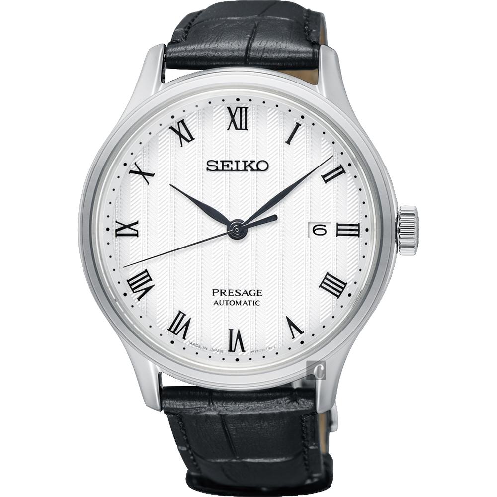 SEIKO 精工 Presage 日式风格罗马机械表-白x黑/41mm 4R35-02S0P(SRPC83J1)