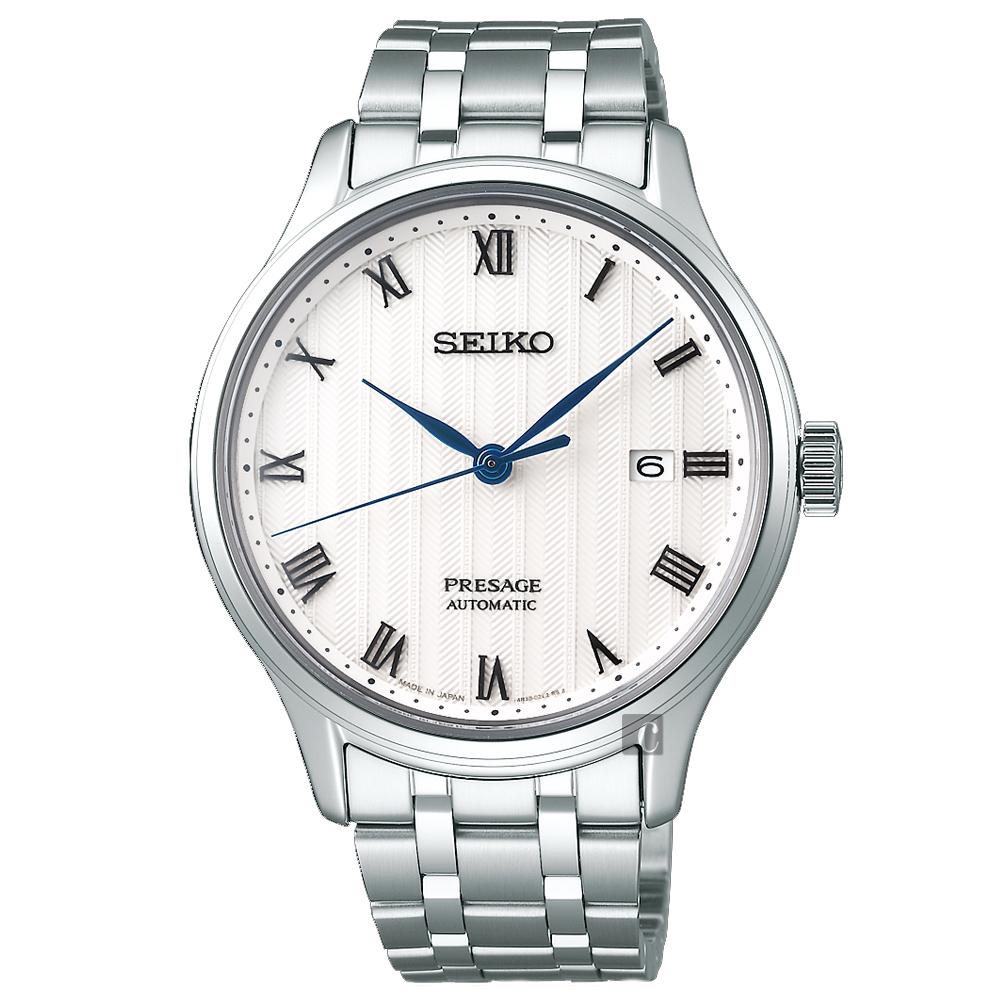 SEIKO 精工 Presage 日式风格罗马机械表-银/41mm 4R35-02S0S(SRPC79J1)
