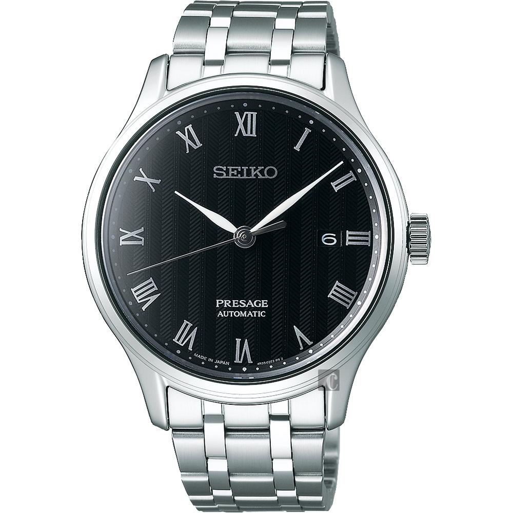 SEIKO 精工 Presage 日式风格罗马机械表-黑x银/41mm 4R35-02S0D(SRPC81J1)