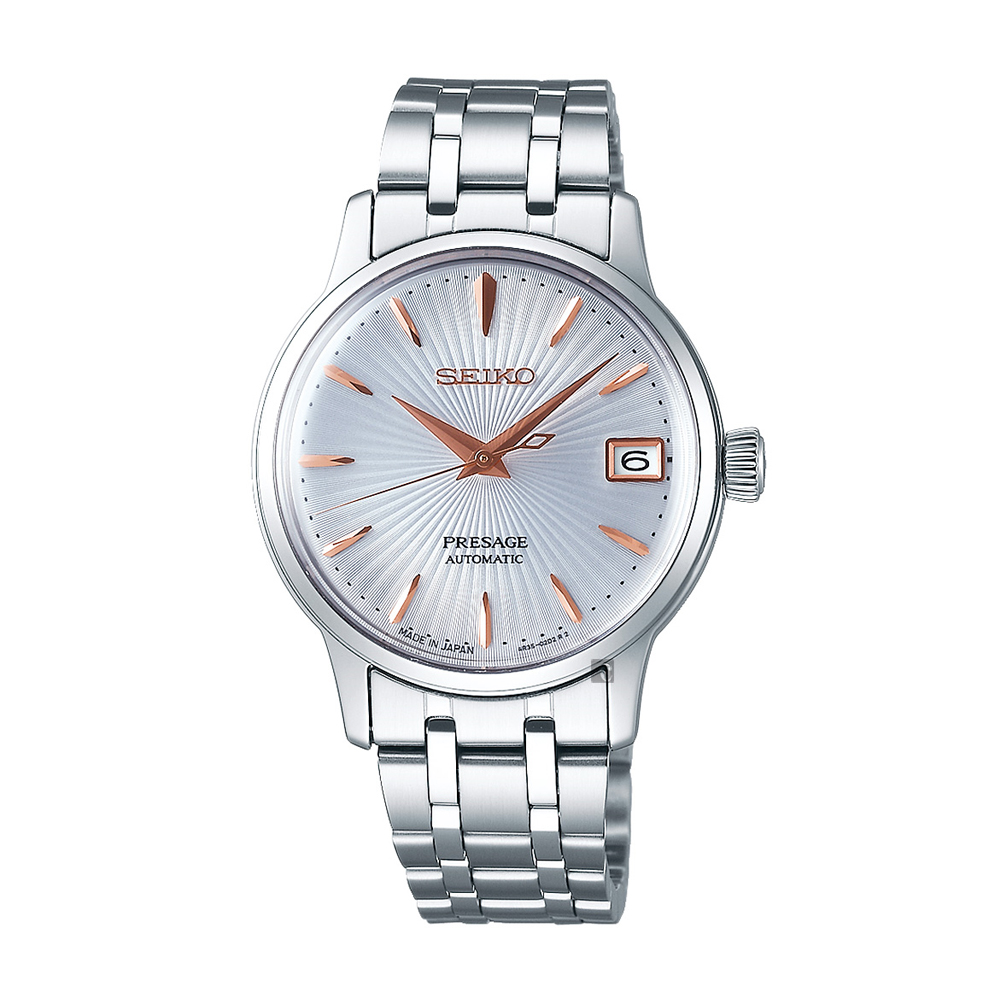 SEIKO 精工 Presage Cocktail 调酒师机械女表-银/33mm 4R35-02T0S(SRP855J1)