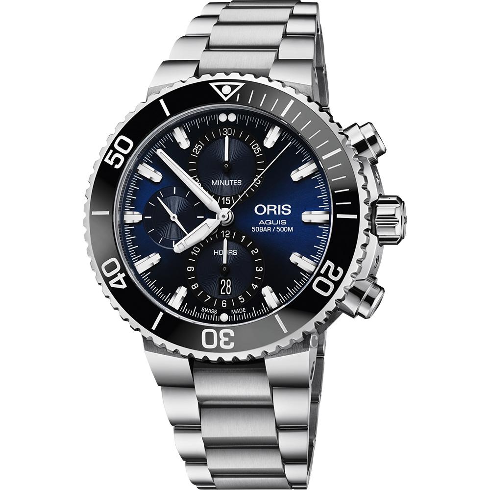 ORIS 豪利时 Aquis 500米潜水计时机械表-蓝x银/45.5mm 0177477434155-0782405PEB