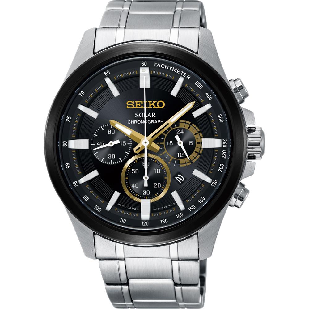 SEIKO 精工 Criteria 玩酷太阳能计时码表-黑x银42mm V175-0ER0D(SSC679P1)