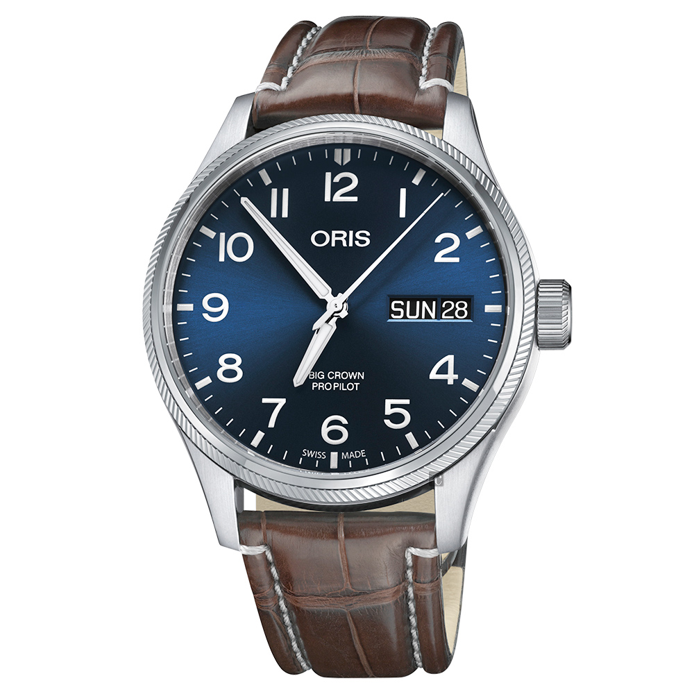 ORIS 豪利时 Big Crown 日历星期机械表-蓝x咖啡色表带/45mm 0175276984065-0712272FC