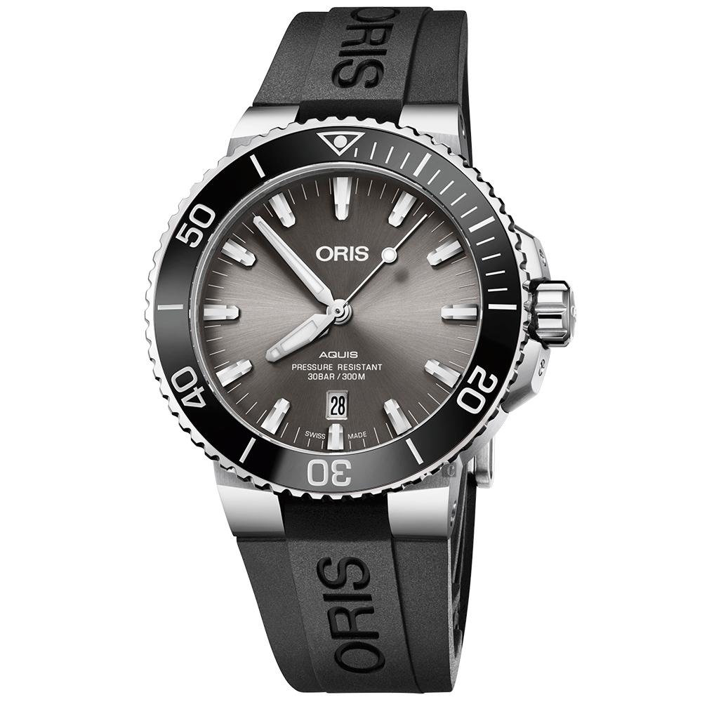 ORIS 豪利时 Aquis 时间之海钛合金潜水300米日期机械表-43.5mm 0173377307153-0742464TEB