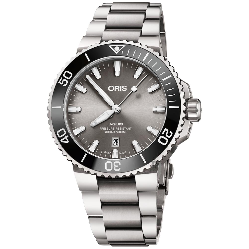 ORIS 豪利时 Aquis 时间之海钛合金潜水300米日期机械表-43.5mm 0173377307153-0782415PEB