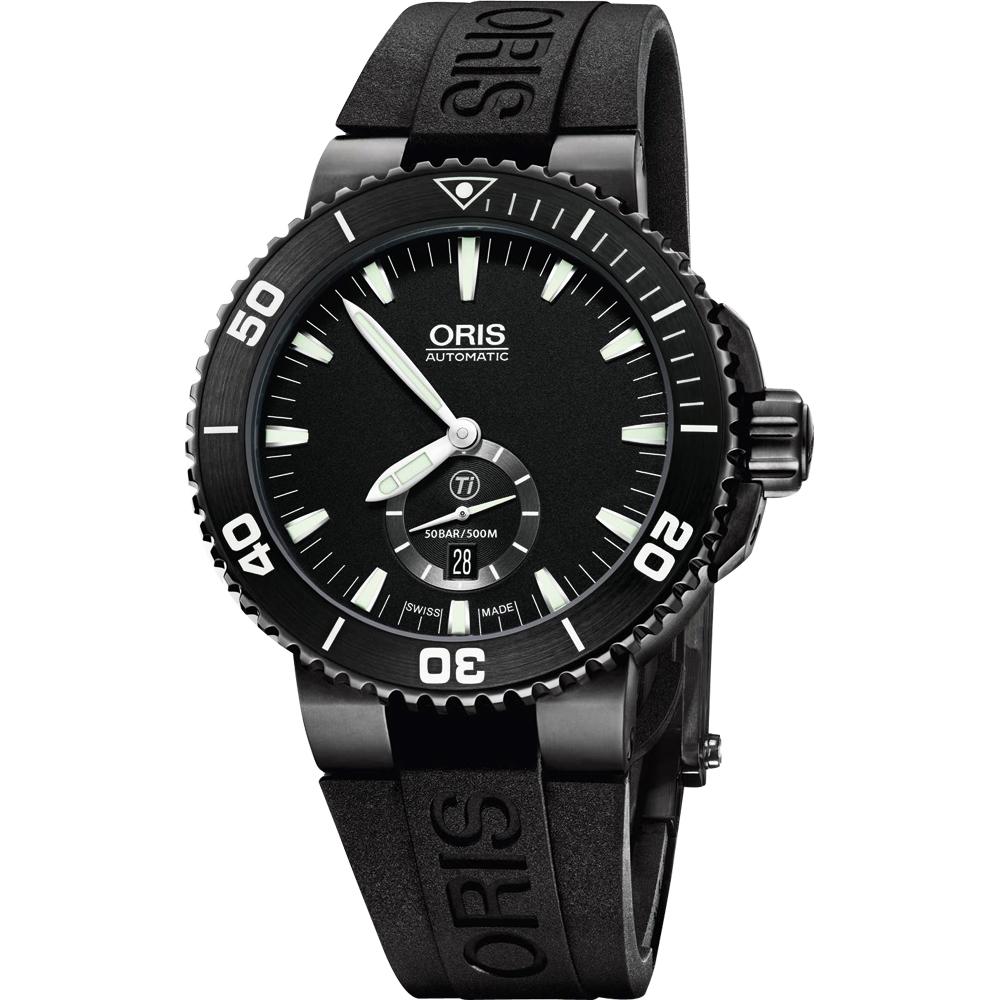 ORIS 豪利时 Aquis 钛 专业潜水小秒针机械表-黑/46mm O739.7674.77.54RS