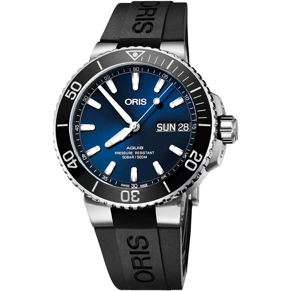ORIS 豪利时 Aquis大视窗日历星期潜水机械表-蓝x黑/45.5mm 0175277334135-0742464EB