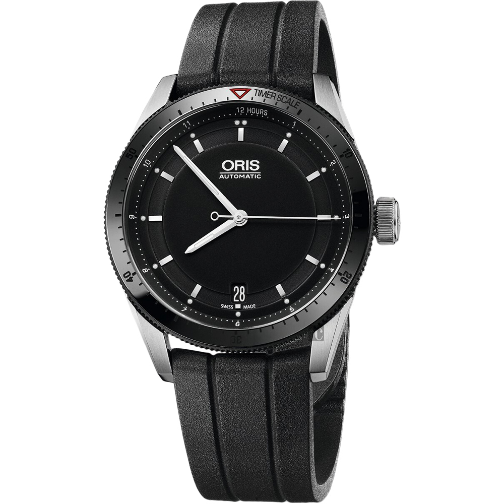 ORIS 豪利时 Artix GT Day-Date 单向转圈机械表-黑x橡胶表带/37mm 0173376714434-0741820FC
