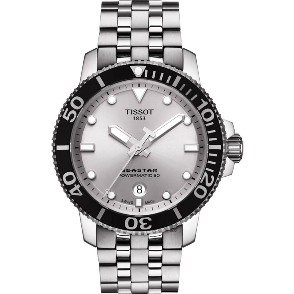 TISSOT 天梭 Seastar 1000 海洋之星300米潜水机械表-银/43mm T1204071103100