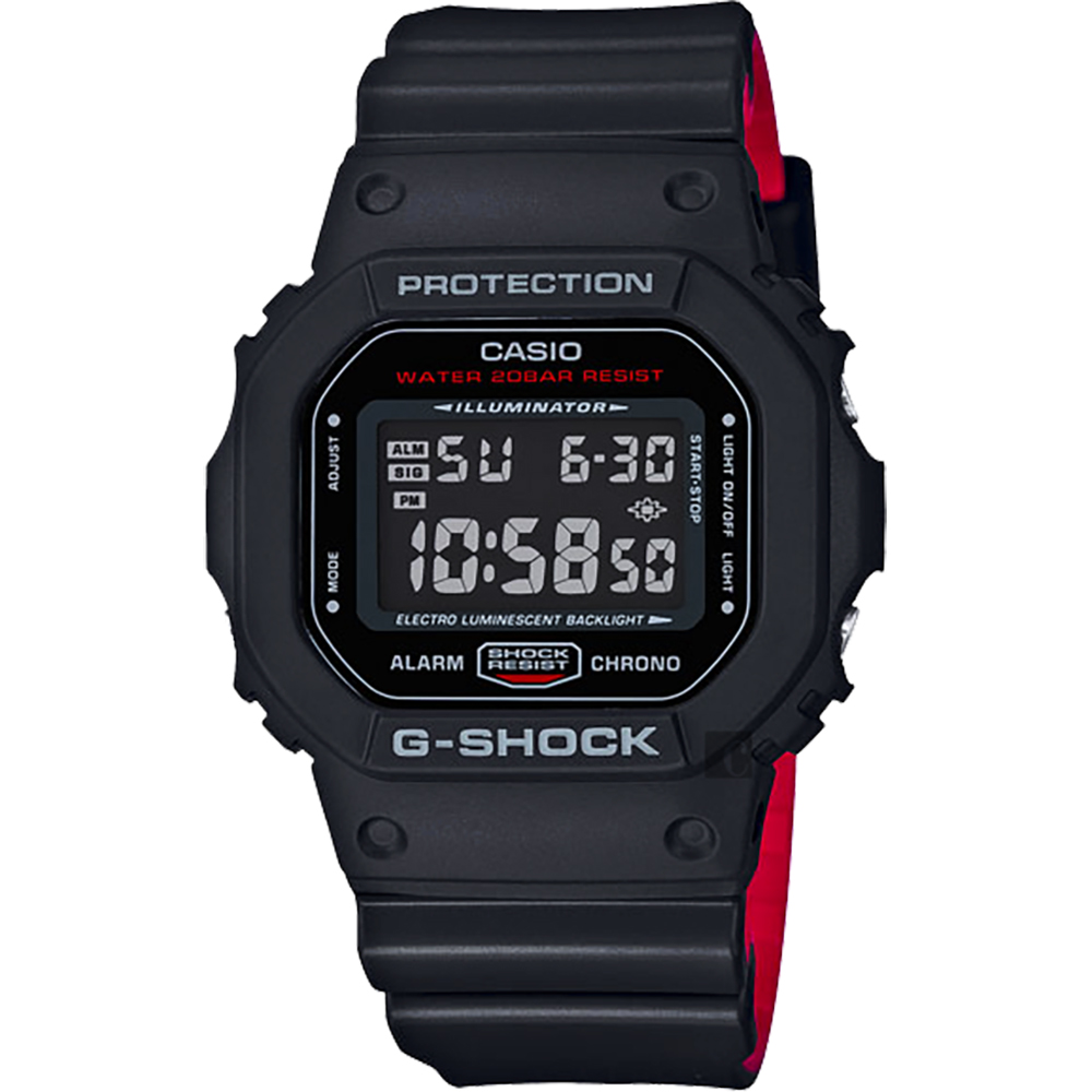 CASIO 卡西欧 G-SHOCK 经典人气电子表-红黑 DW-5600HR-1