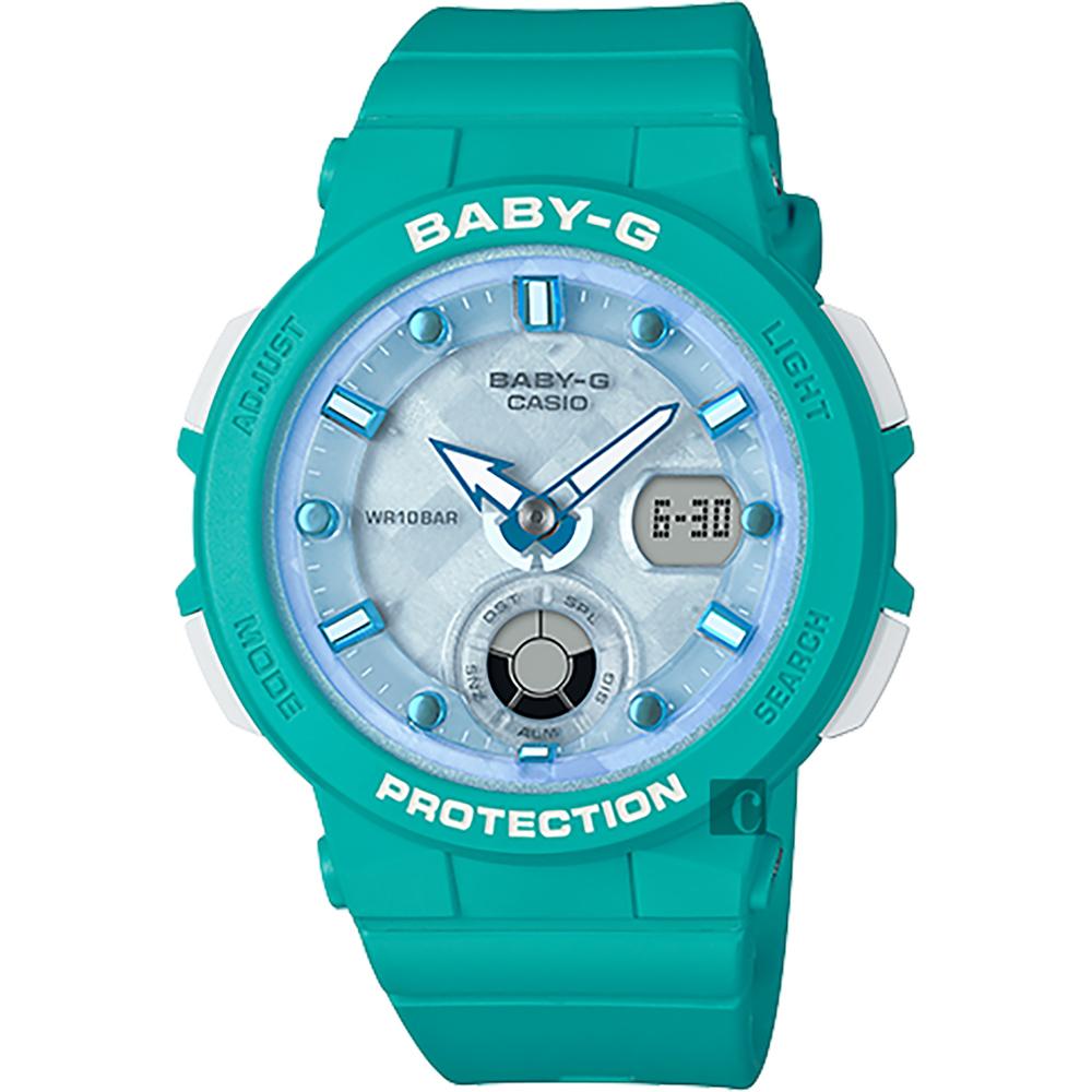 CASIO 卡西欧 Baby-G 海洋渡假 霓虹手表-蓝x绿 BGA-250-2A