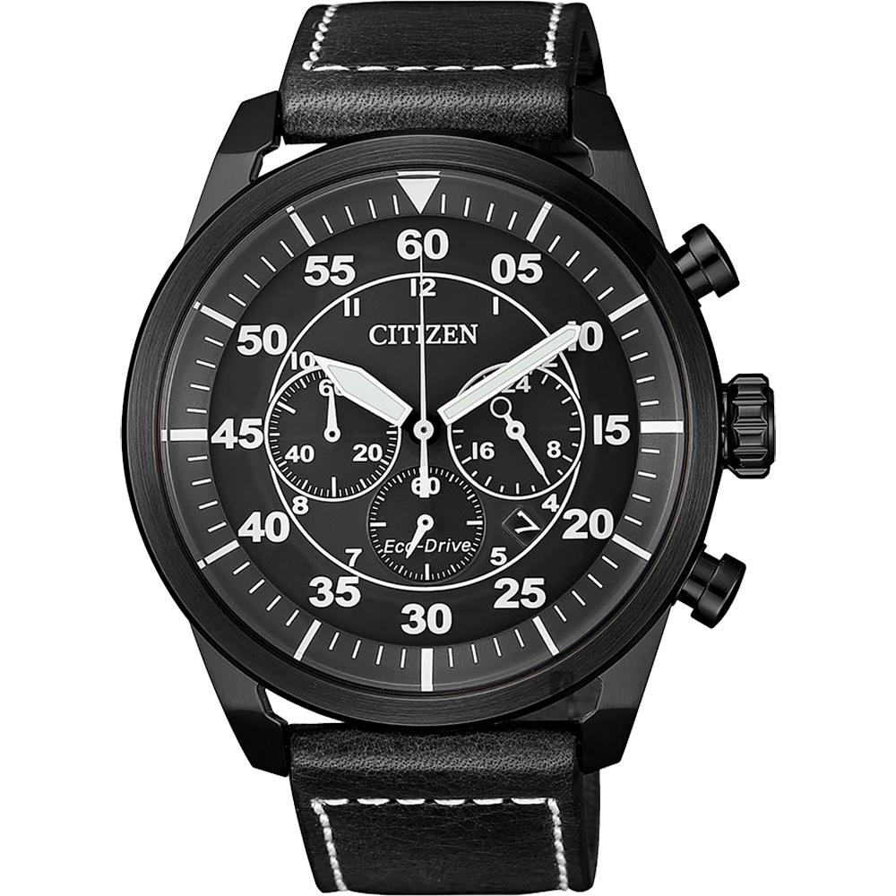 CITIZEN 星辰 光动能飞行员计时手表-灰x黑/45mm CA4215-21H