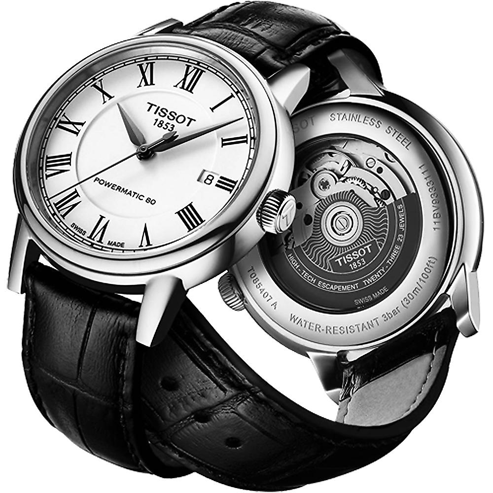 TISSOT 天梭 Carson Powermatic 80 罗马机械手表-银x黑 T0854071601300