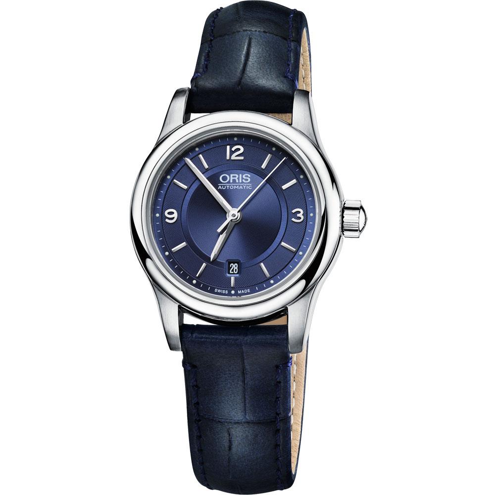 ORIS 豪利时 Classic 经典三针都会机械女表-蓝/28.5mm 0156176504035-0751485