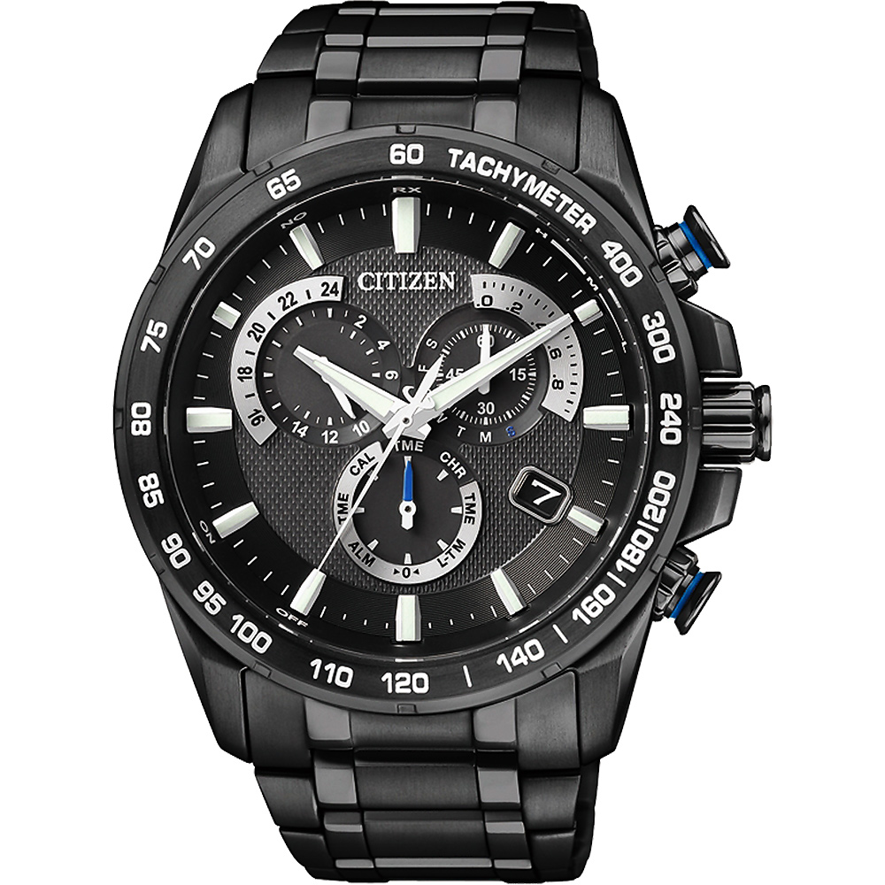 CITIZEN Eco-Drive 钛 单局电波闹铃腕表-IP黑 AS8025-57E