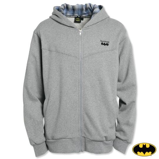 BATMAN-蝙蝠俠繡花連帽外套-淺灰(男)