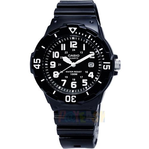 CASIO 潛水概念 簡潔時標超強防水腕錶_黑面/白刻〈LRW-200H-1B〉