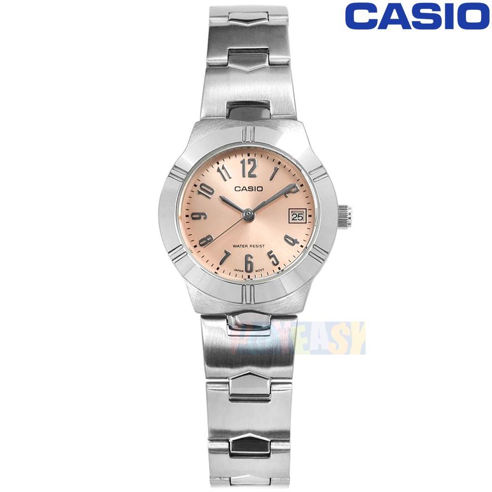 CASIO / LTP-1241D-4A3 / 卡西欧 时尚高雅 阿拉伯数字时标 日期 日本机芯 不锈钢手表 粉橘色 25mm