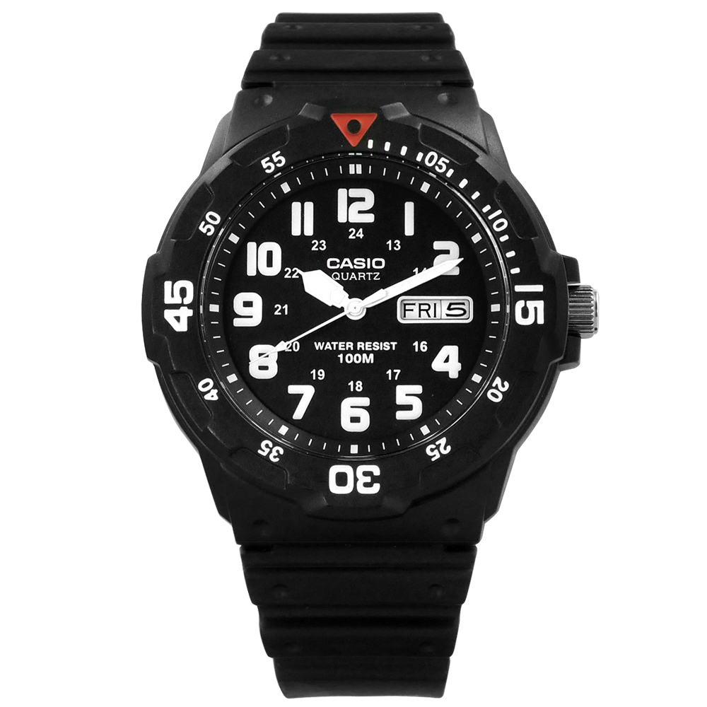 CASIO 潛水勇者•簡潔時標超強防水腕錶_黑/紅〈MRW-200H-1B〉