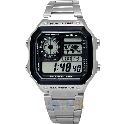 CASIO 世界地图•10年电力多功能电子不锈钢腕表〈AE-1200WHD-1A〉