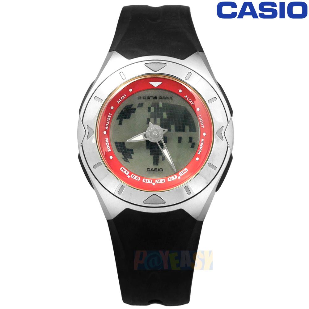 CASIO / EDB-300-4B / 卡西欧 数据库多功能 世界时间 计时码表 闹铃 双显 橡胶手表 黑色 38mm