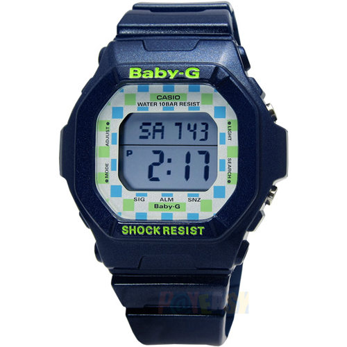 BABY-G 活力滿點‧熱鬧繽紛格紋方形電子腕錶 深藍色〈BG-5600CK-2〉