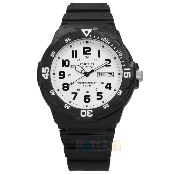 CASIO / MRW-200H-7B / 卡西歐簡潔顯眼時標設計橡膠腕錶 白x黑 42mm