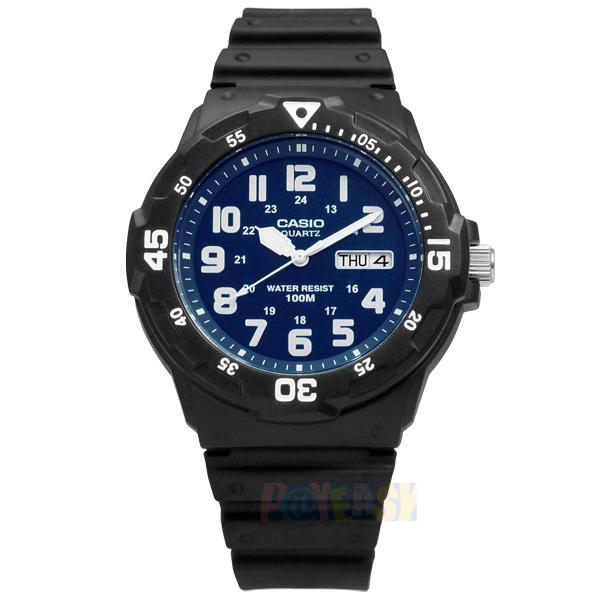 CASIO / MRW-200H-2B2 / 卡西歐簡潔顯眼時標設計橡膠腕錶 藍x黑 42mm