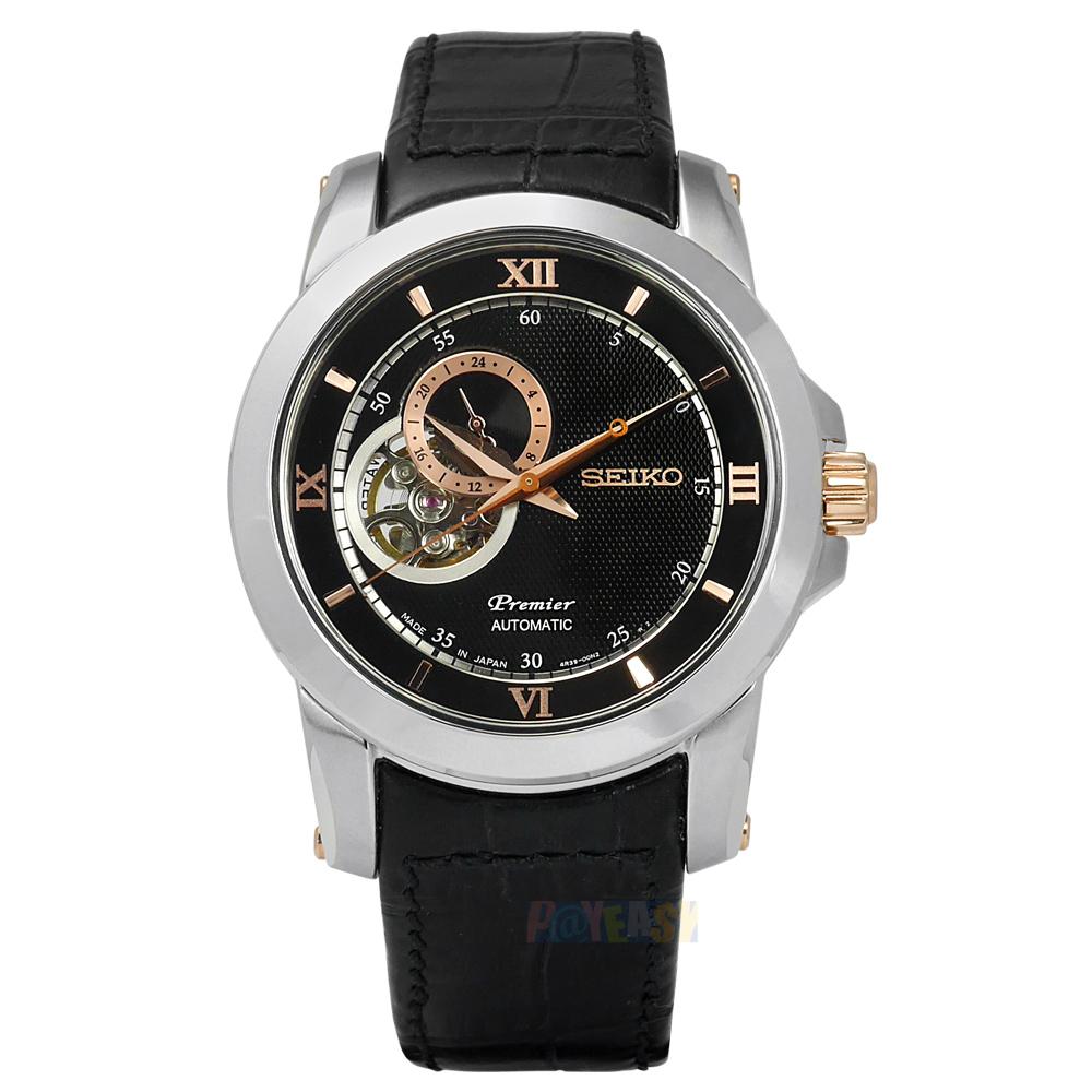SEIKO 精工 / 4R39-00P0C.SSA324J1 / Premier 絕世羅馬藍寶石水晶機械壓紋真皮手錶 黑色 41mm