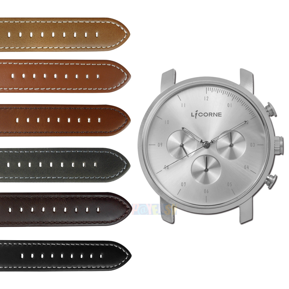 LICORNE 力抗 / LT124MWC / MYO 首创自由搭配蓝宝石水晶玻璃真皮手表 银色 45mm