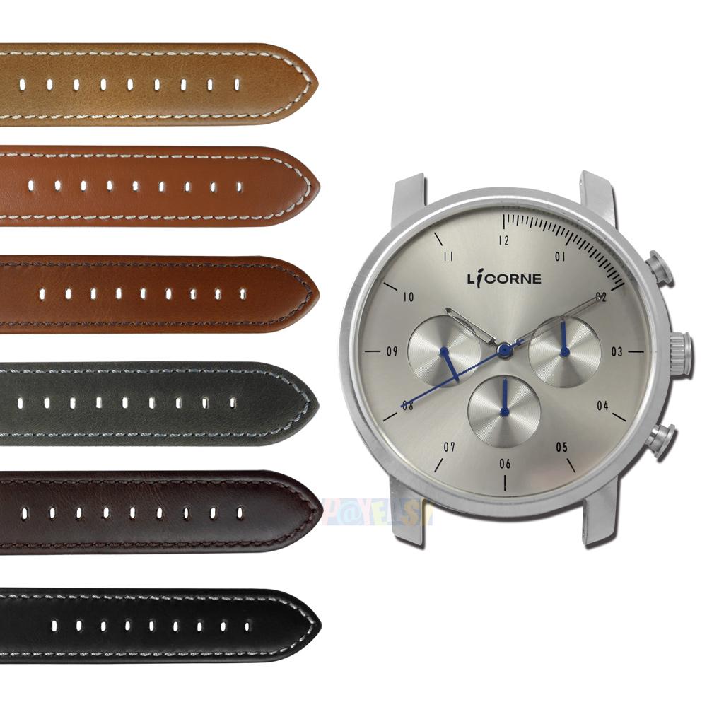 LICORNE 力抗 / LT124MWU / MYO 首创自由搭配蓝宝石水晶玻璃真皮手表 银灰色 45mm