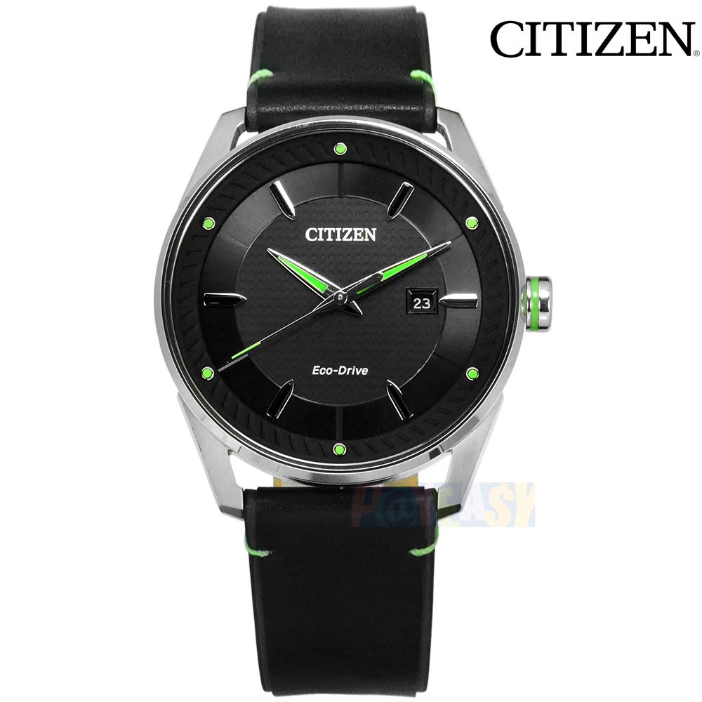 CITIZEN / BM6981-13E / 光动能 矿石强化玻璃 日期显示 防水100米 牛皮手表 黑绿色 42mm