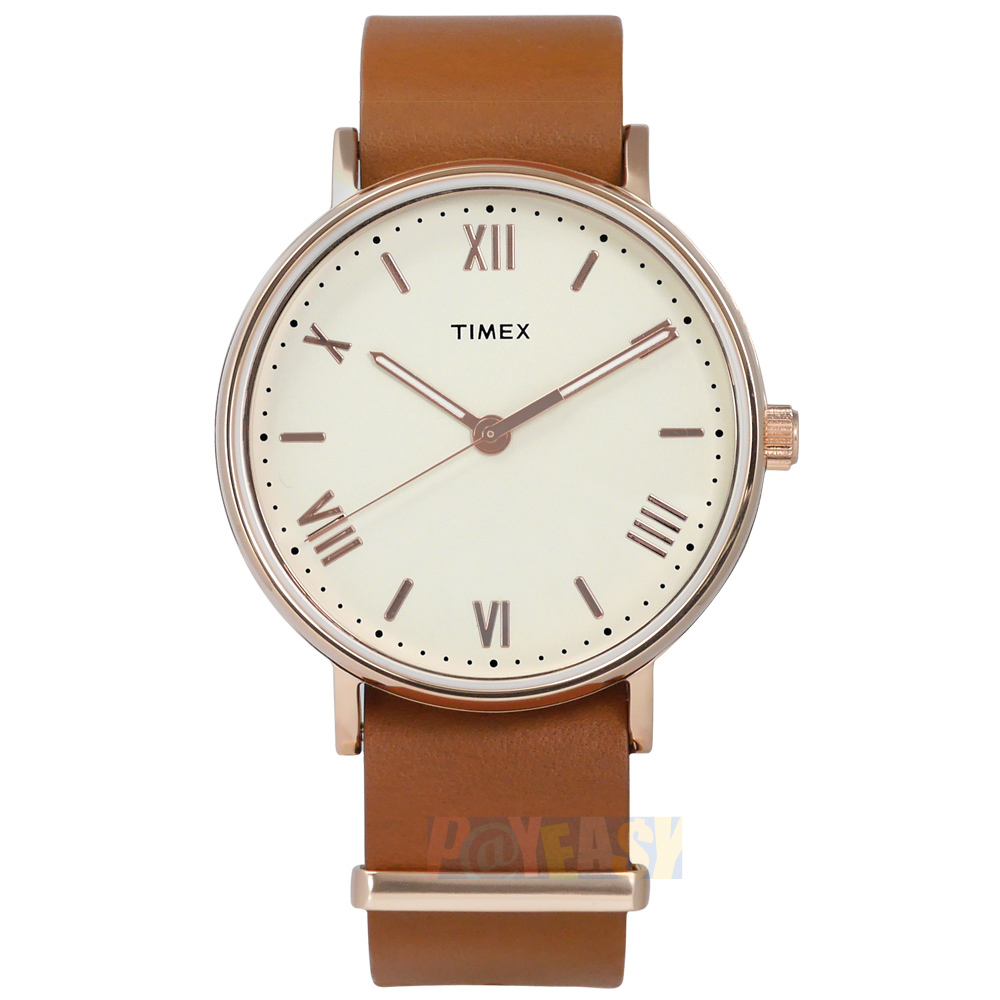 TIMEX 天美时/ TXTW2R28800 / 美国指标简约罗马设计真皮手表 米白x玫瑰金框x卡其 41mm
